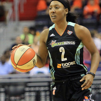 July 09 2015: Candice Wiggins (2) of the New York Liberty during a WNBA game against the Washington Mystics at Verizon Center, in Washington D.C. Liberty won 79-76. .